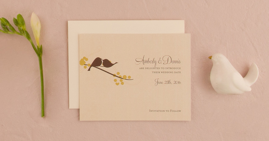Love Birds Spring Wedding Save The Date Card | Confetti.co.uk