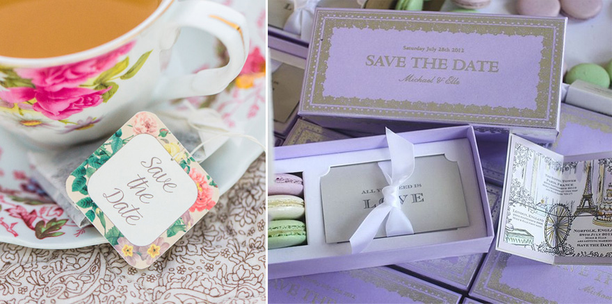 Macaron Box Wedding Save the Date Idea and Personalised Save the Date Tea Bags from Vintage Tea Party Picnic Engagement Session Photograph by Christy Nicole Photography | Confetti.co.uk
