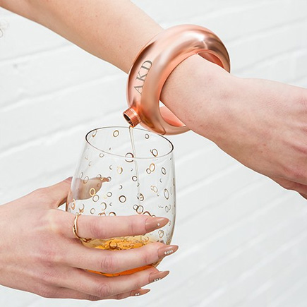 Personalised Rose Gold Bracelet Bangle Flask Trendy Wearable Drinks Flask | Confetti.co.uk