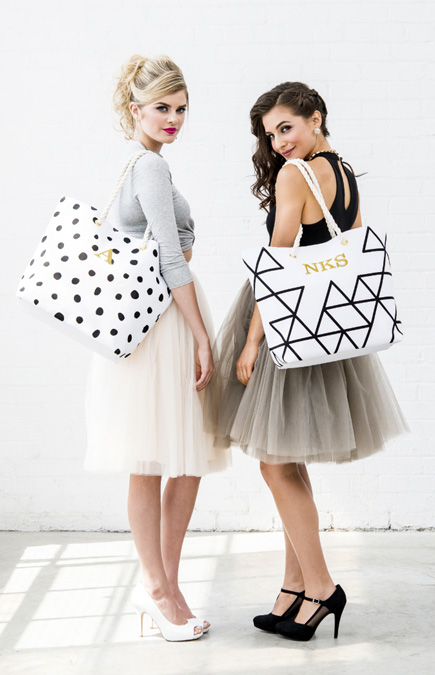 Personalised Trendy Black and White Geometric and Dalmatian Dot Tote Beach Bags | Confetti.co.uk