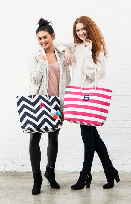 Personalised Trendy Zig Zag Design Cabana Tote Beach Bags | Confetti.co.uk
