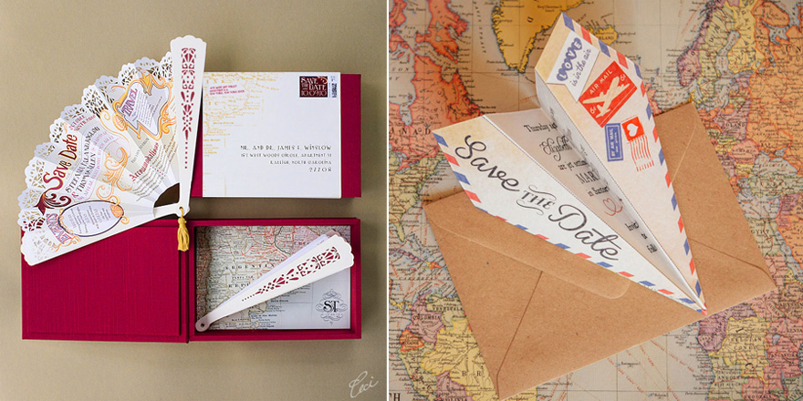 Personalised Vintage Airmail Wedding Save the Date Paper Airplanes by HipHipHoorayStudio and Buenos Aires Folding Hand Fan Save the Date from Ceci New York | Confetti.co.uk