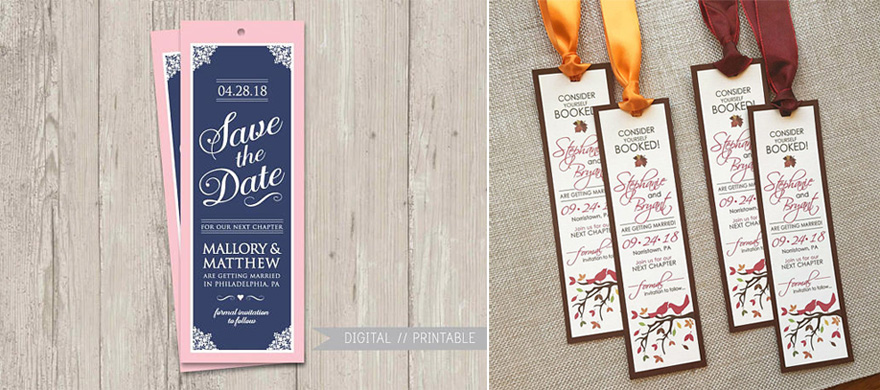 Pink and Navy Blue Save the Date Bookmark by ThePaperVioletShoppe on Etsy and Fall Wedding Autumn Wedding Save the Date by envymarketing on Etsy | Confetti.co.uk