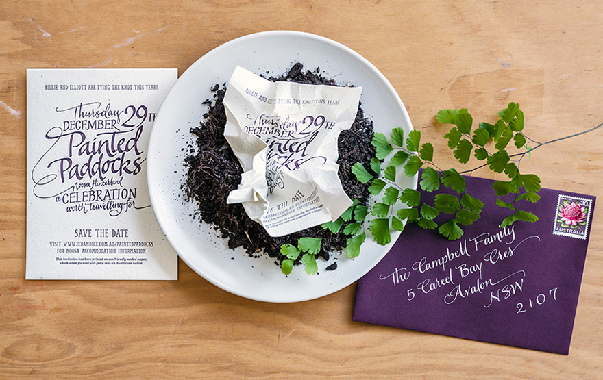Plantable Seeded Paper Save The Date Invitation from Zed & Bee Wedding Stationery Collection | Confetti.co.uk