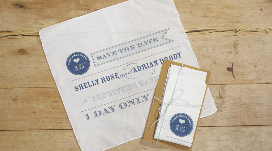Play Bill White and Navy Save The Date Personalised Handkerchief | Confetti.co.uk