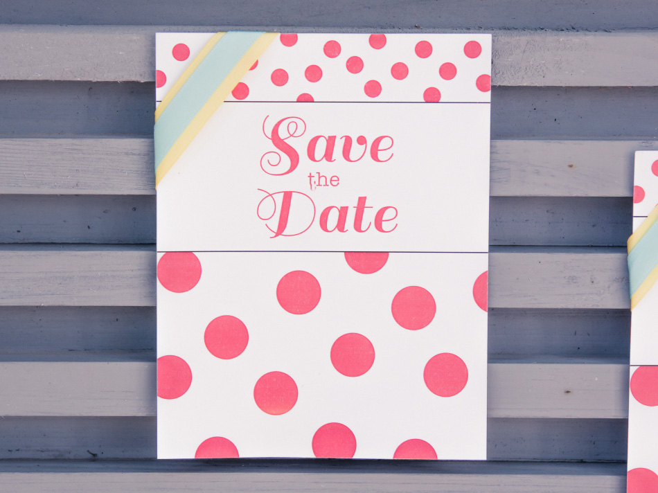 Retro Candy Colourful Polka Dot Save The Date Card | Confetti.co.uk