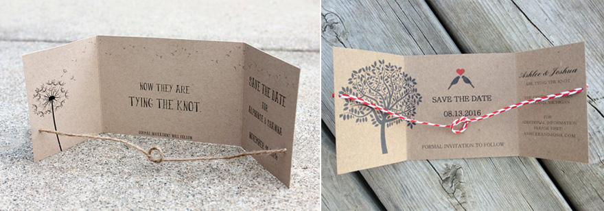 Rustic Dandelion Wish Tie the Knot Save the Date Card by SweetSights on Etsy and Tying the Knot Save the Date Card with Tree and Love Birds by MyPlatinumPlanner on Etsy | Confetti.co.uk