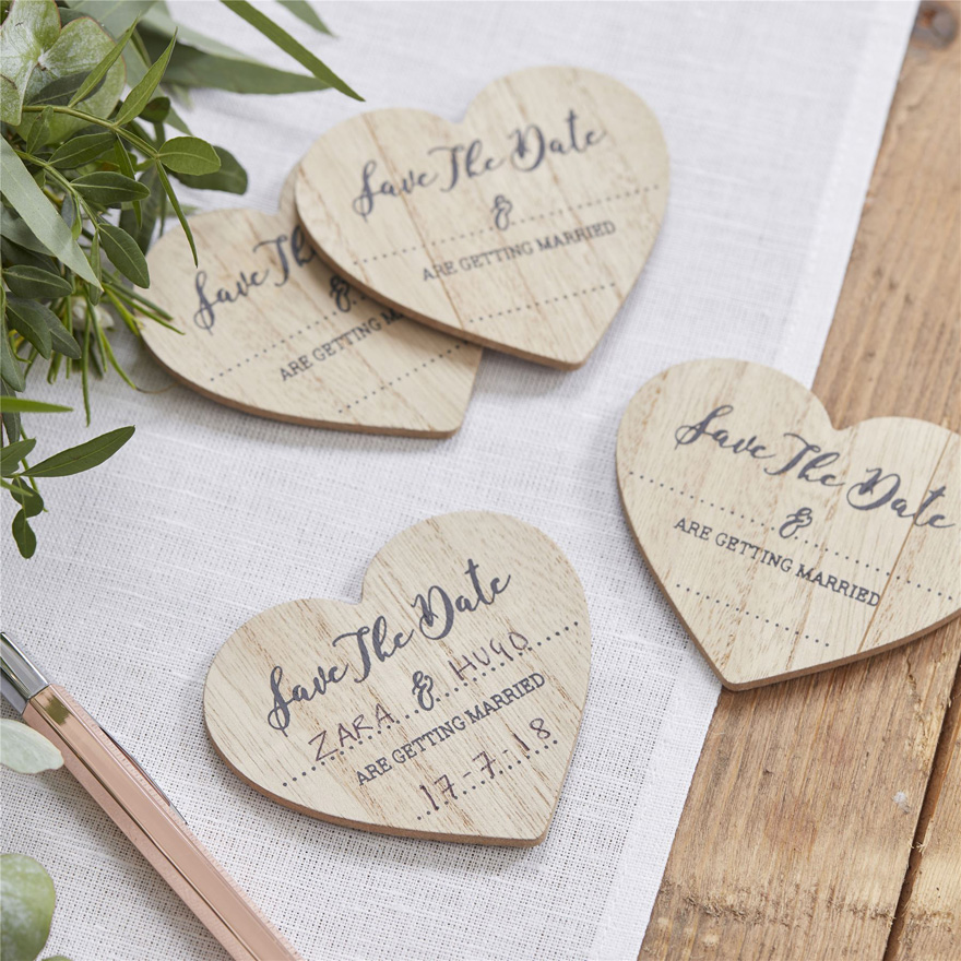 Save The Date Wooden Heart Magnets | Confetti.co.uk