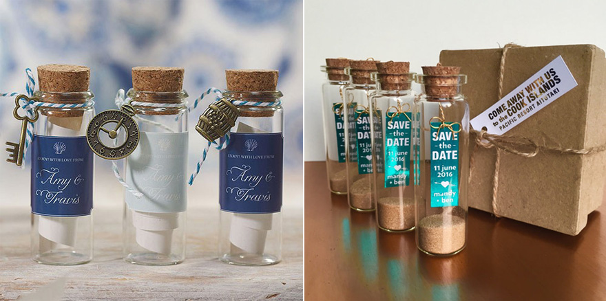 Small Glass Bottle With Cork Stopper and Charms Wedding Favour and Message In a Bottle Creative Save the Date Idea by aLITTLEsmallTALK on Etsy | Confetti.co.uk