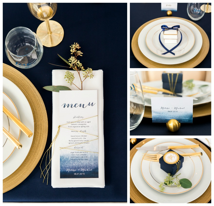 Navy blue and gold wedding table decorations | Confetti.co.uk