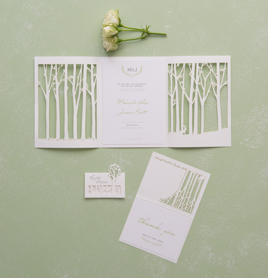Trees and Woodland Nature Wedding Invitation - Woodland Pretty Laser Embossed Accessory Cards With Personalisation | Confetti.co.uk