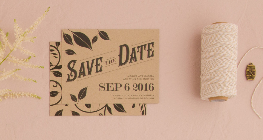 Vineyard Save The Date Card - Curling Vines and Leaves Wedding Stationery | Confetti.co.uk