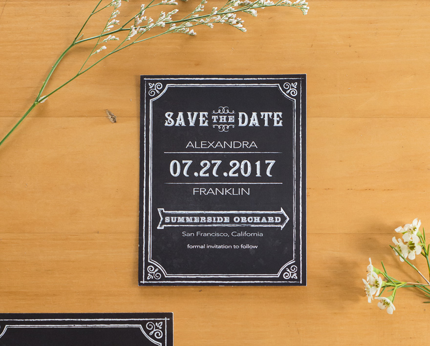 Vintage Retro Black and White Save The Date Card With Chalkboard Print Design | Confetti.co.uk