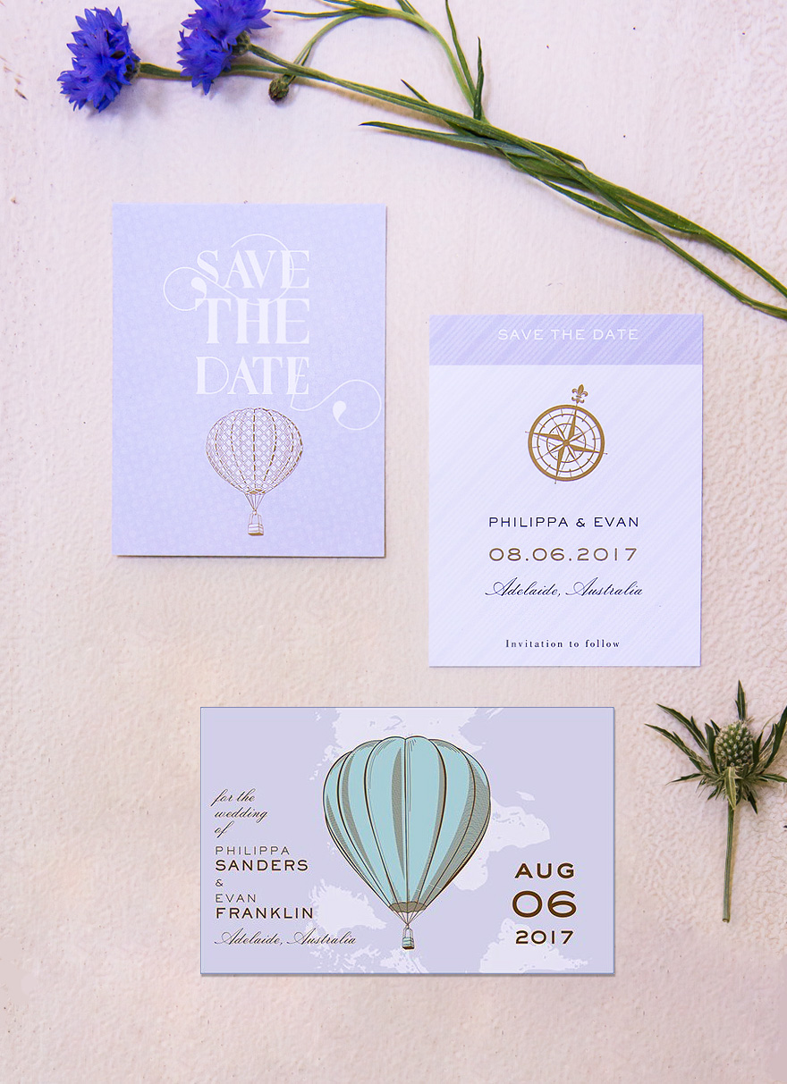 Vintage Travel Wanderlust Save The Date Cards with Hot Air Balloons and Compasses | Confetti.co.uk