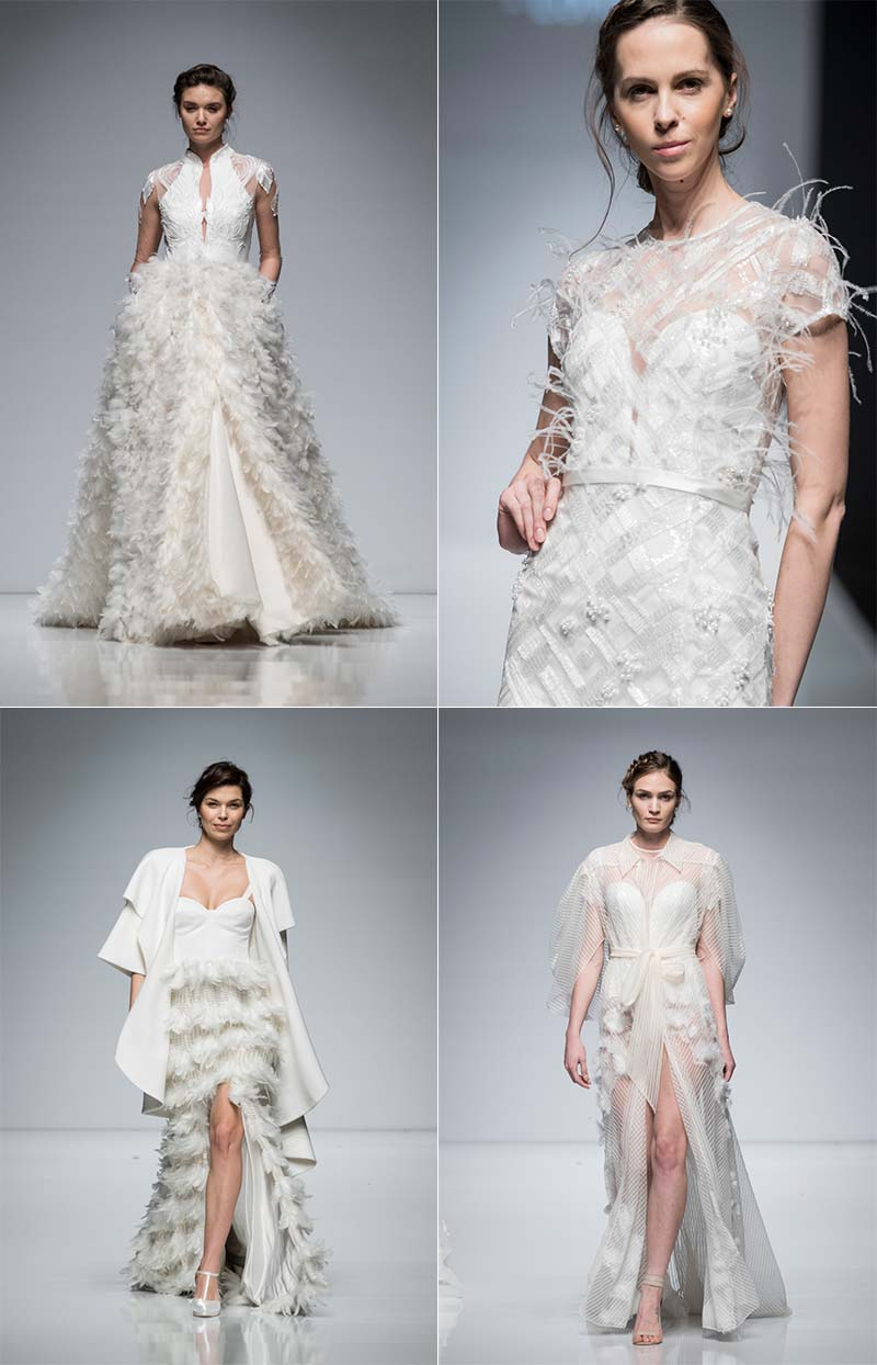 Four feathered wedding dresses