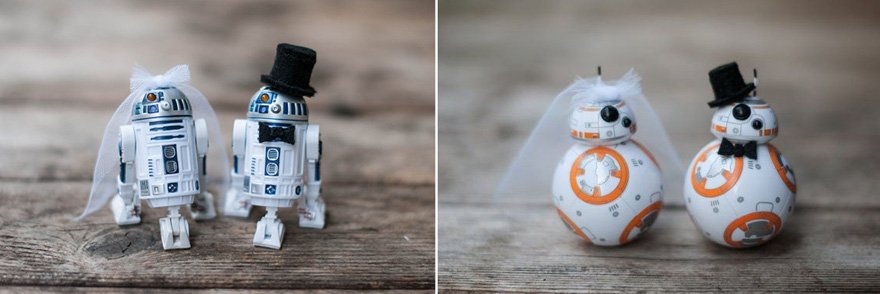 Bride and Groom R2D2 Cake Toppers with Veil and Top Hat and Bride and Groom BB8 Cake Toppers with Veil and Top Hat by army wife artist on Etsy | Confetti.co.uk