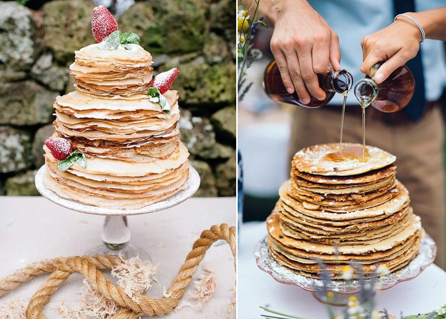 Crepes and Strawberries Wedding Cake Alternative via Sweet Violet Bride and Pancake Wedding Cake Idea with Syrup via Cole and Kelly's Brunch Wedding at Cape Cod from Vienna Glenn Photography | Confetti.co.uk