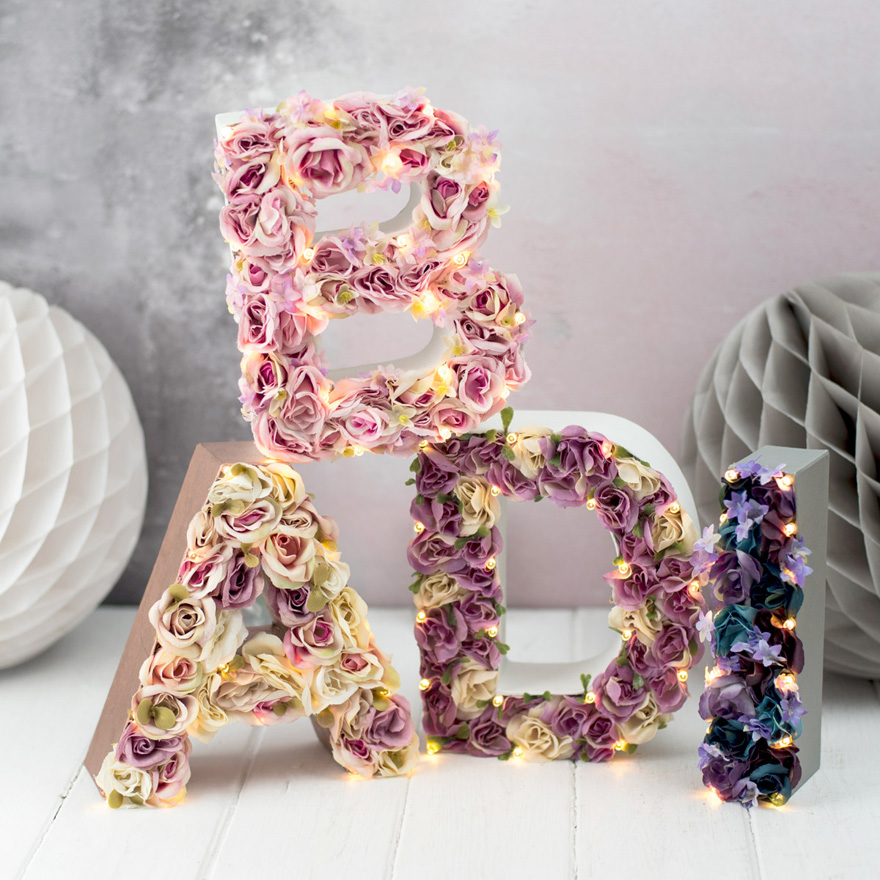 Handmade Flower Letters with Lights - Letters Filled With Flowers and Lights Beautful Gift Idea from The White Bulb | Confetti.co.uk