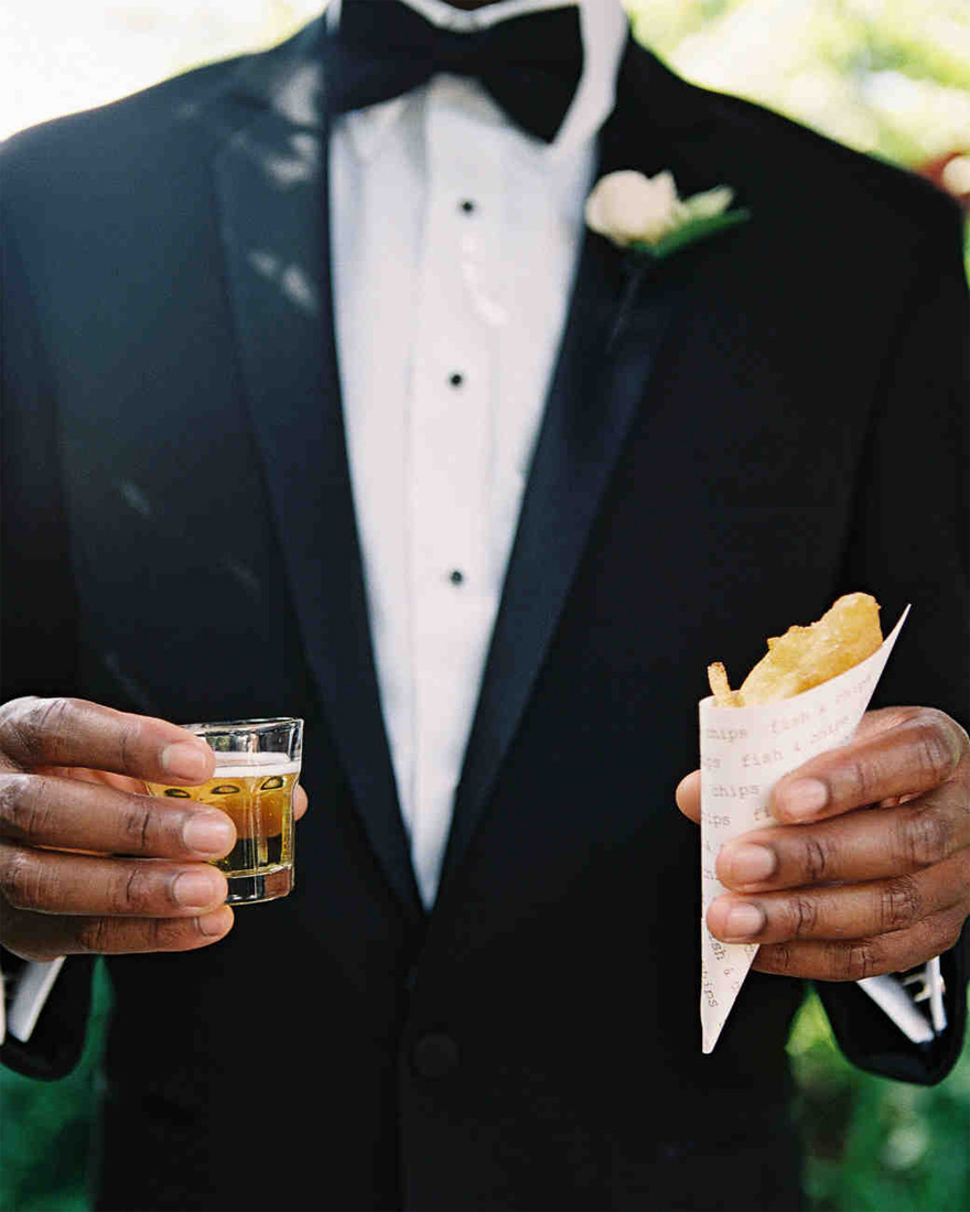 Mini Fish and Chips Wedding Catering with a Shot of Beer from A Glamorous Outdoor Destination Wedding in California by Braedon Photography, via Martha Stewart Weddings | Confetti.co.uk