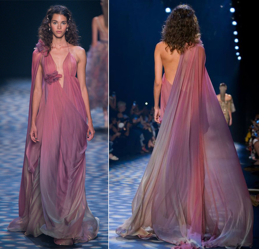 Ombre Pink Purple Floaty Grecian Style Dress - Star Wars Padme Naboo Dress - Style 13 from the Marchesa Spring 2017 Ready-to-Wear Collection | Confetti.co.uk