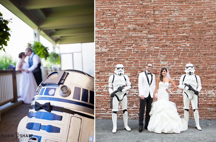 R2D2 with a Bow Tie and Stormtrooper Escorts at a Wedding | Confetti.co.uk