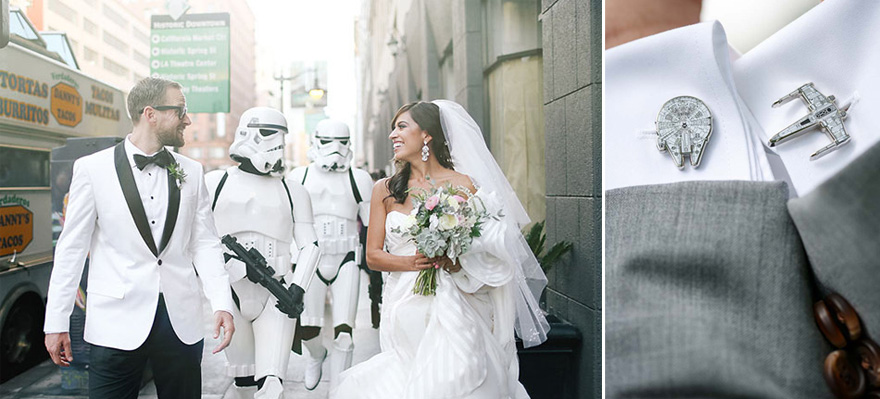 Star Wars Wedding Stylish Black and White Groomswear Ideas Including X Wing and Millennium Falcon Cuff Links | Confetti.co.uk