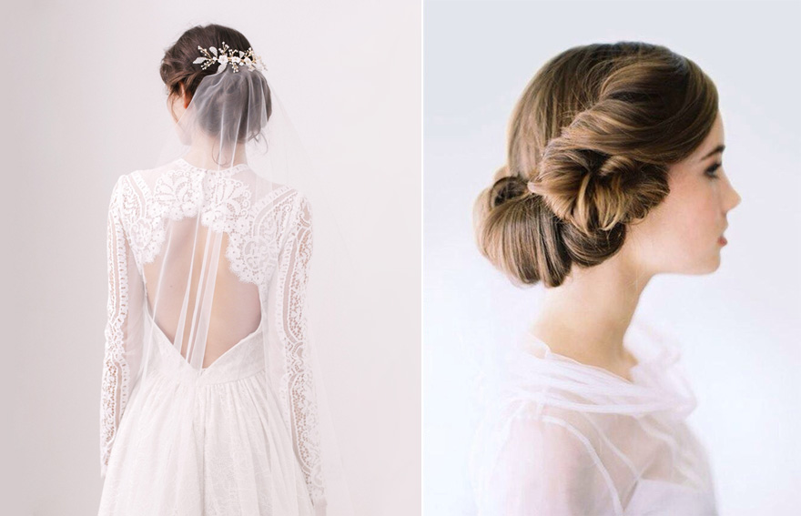 "Stars Wars Inspired Bridal Hair - Skylar ""Barely There"" Wedding Veil from Britten Weddings and Natural Bridal Updo from OnceWed with Tec Petaja Photography 