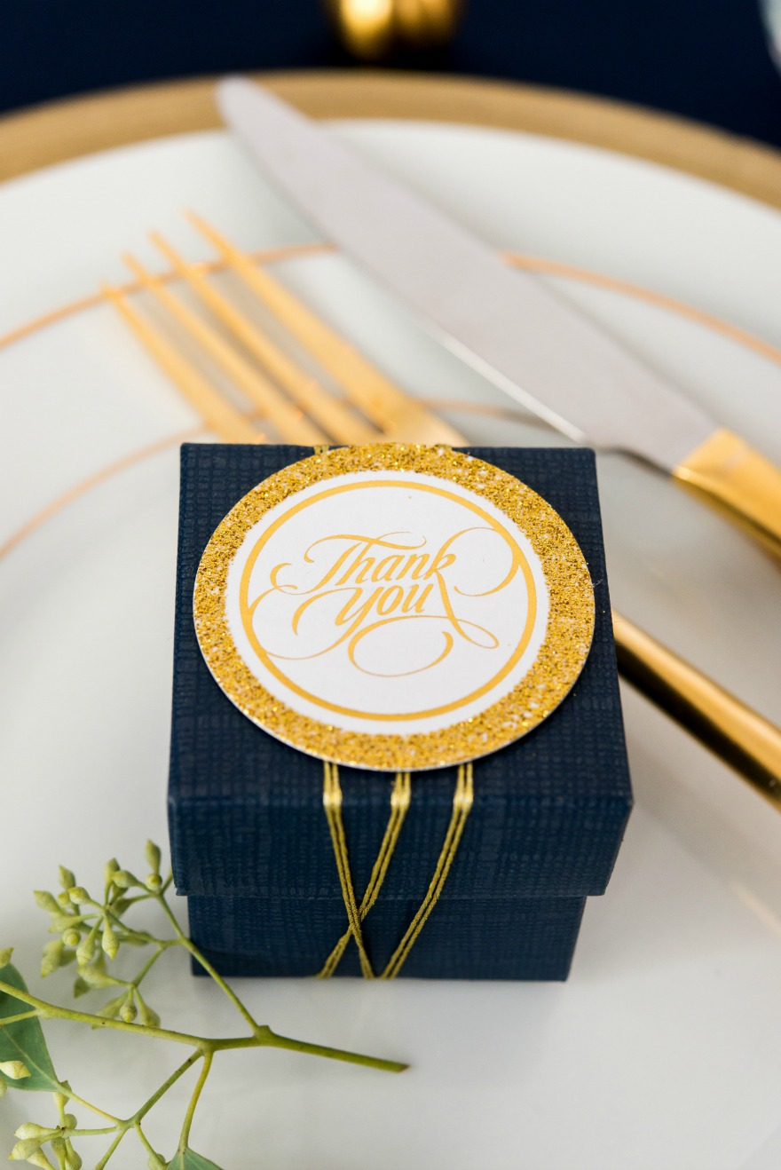 Navy and gold wedding favours | Confetti.co.uk