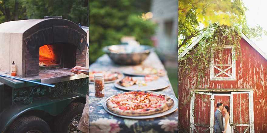 Wood Fired Pizza-Mobile Oven - Jess and Jonny's DIY Backyard Wedding with Pizza Food Truck - by First Mate Photo Co via Love and Lavender | Confetti.co.uk