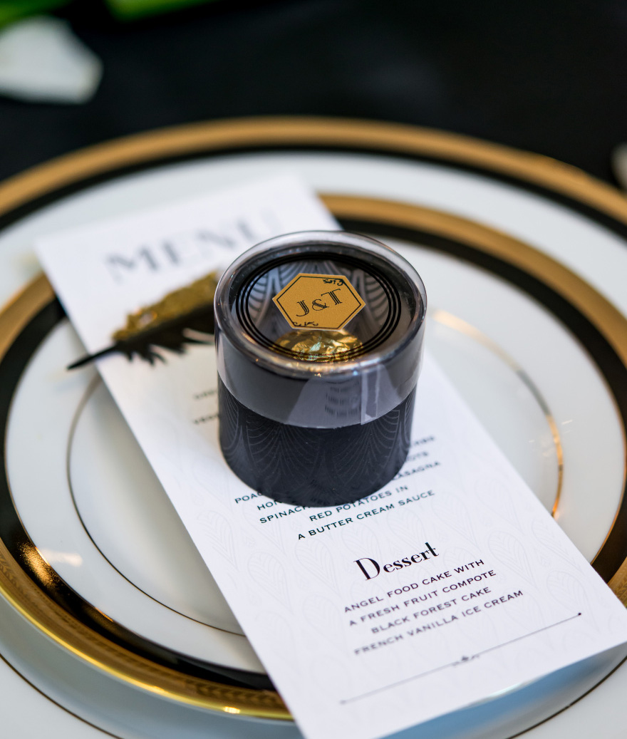 Black and Gold Art Deco Cylinder Boxes with Clear Lid - Stylish Wedding Favour Boxes | Confetti.co.uk