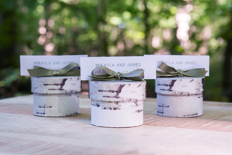 Silver Birch Tree Effect Round Favour Box - Woodland Wedding Favour Ideas | Confetti.co.uk