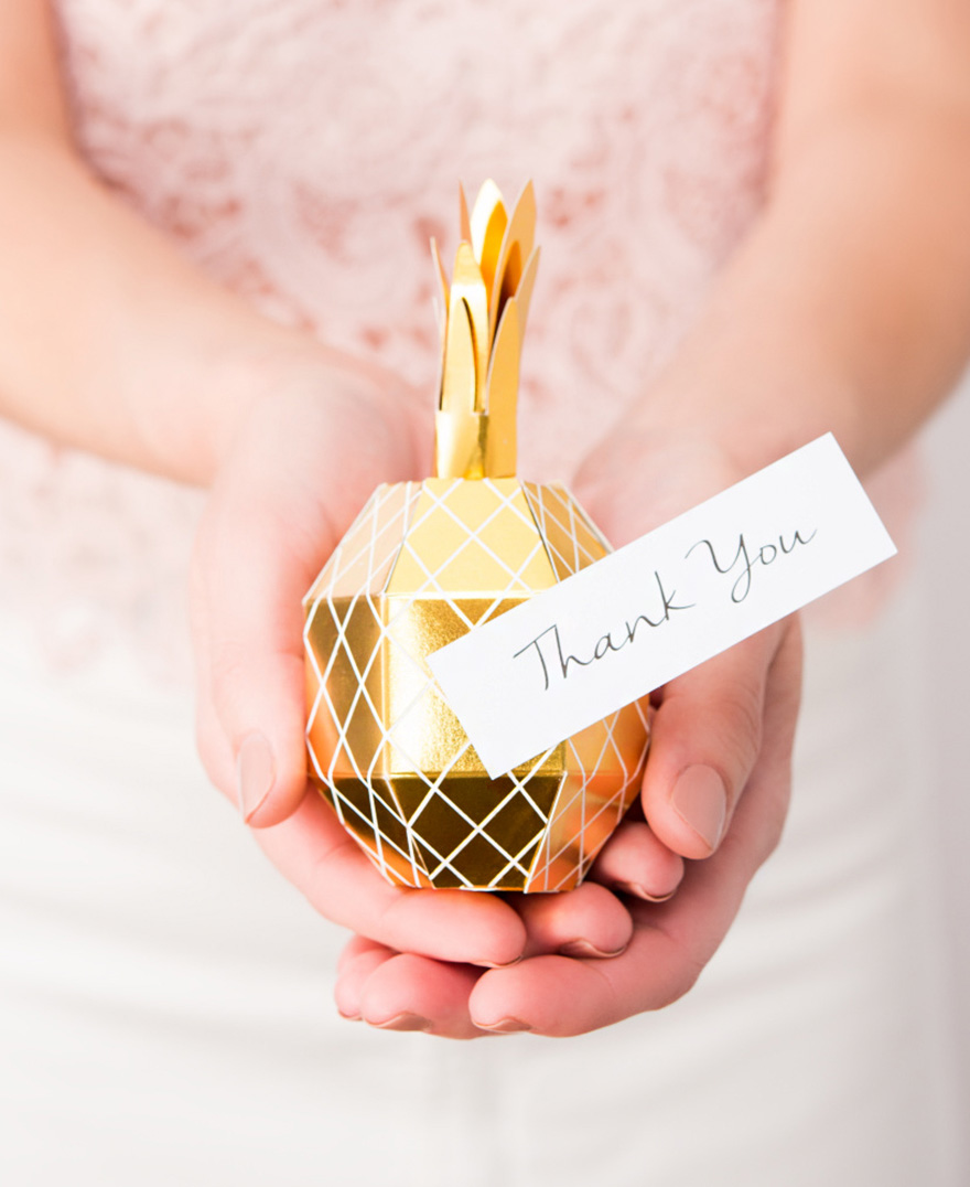 Tropical Pineapple Party Favour Boxes - White and Gold Pineapple Wedding Favour Boxes | Confetti.co.uk