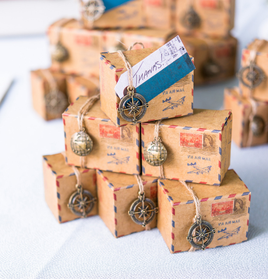 Vintage Inspired Airmail Favour Box Kit - Wanderlust and Travel Wedding Favour Ideas | Confetti.co.uk