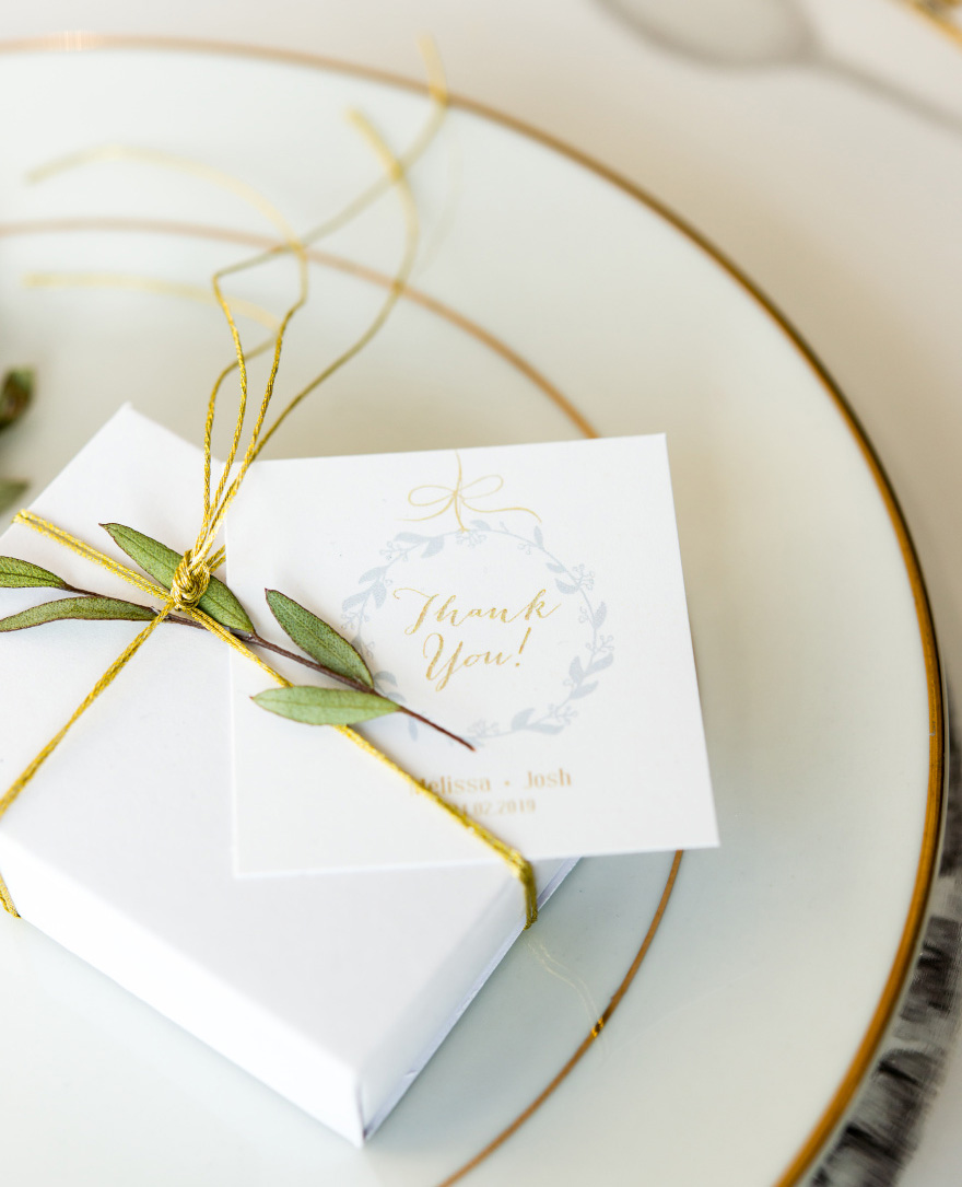 White Drawer-Style Paper Favour Box - Green and Gold Wedding Favour Boxes - Classic Wedding Favours | Confetti.co.uk