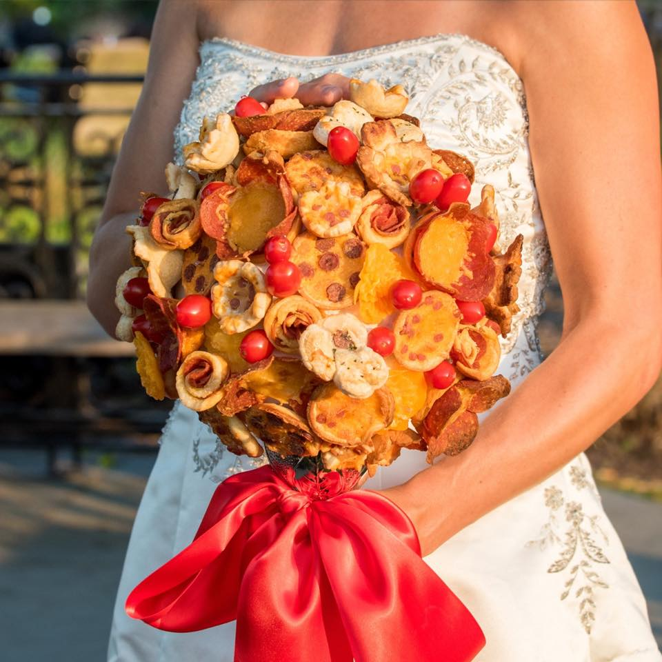 pizza wedding bouquet