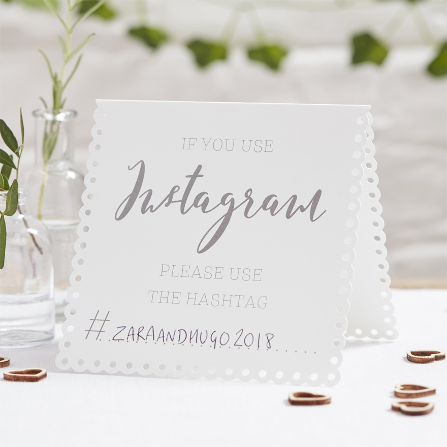 Beautiful Botanics Instagram Tent Cards - Instagram Hashtag Wedding Cards - White and Silver Wedding Stationery - Instagram Wedding Sign | Confetti.co.uk