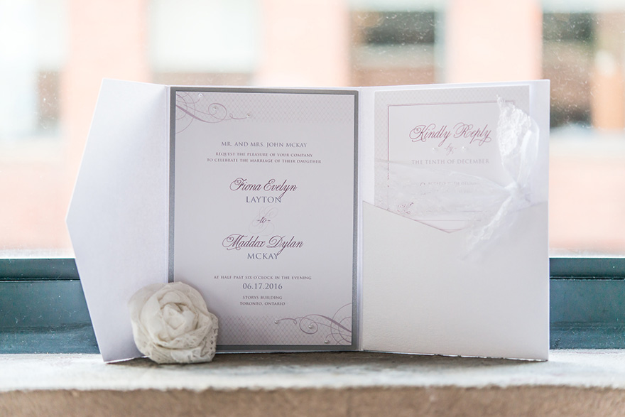 Contemporary Vintage Invitation in Victorian Purple with Classic White Envelope - Lace Flowers and Vintage | Confetti.co.uk