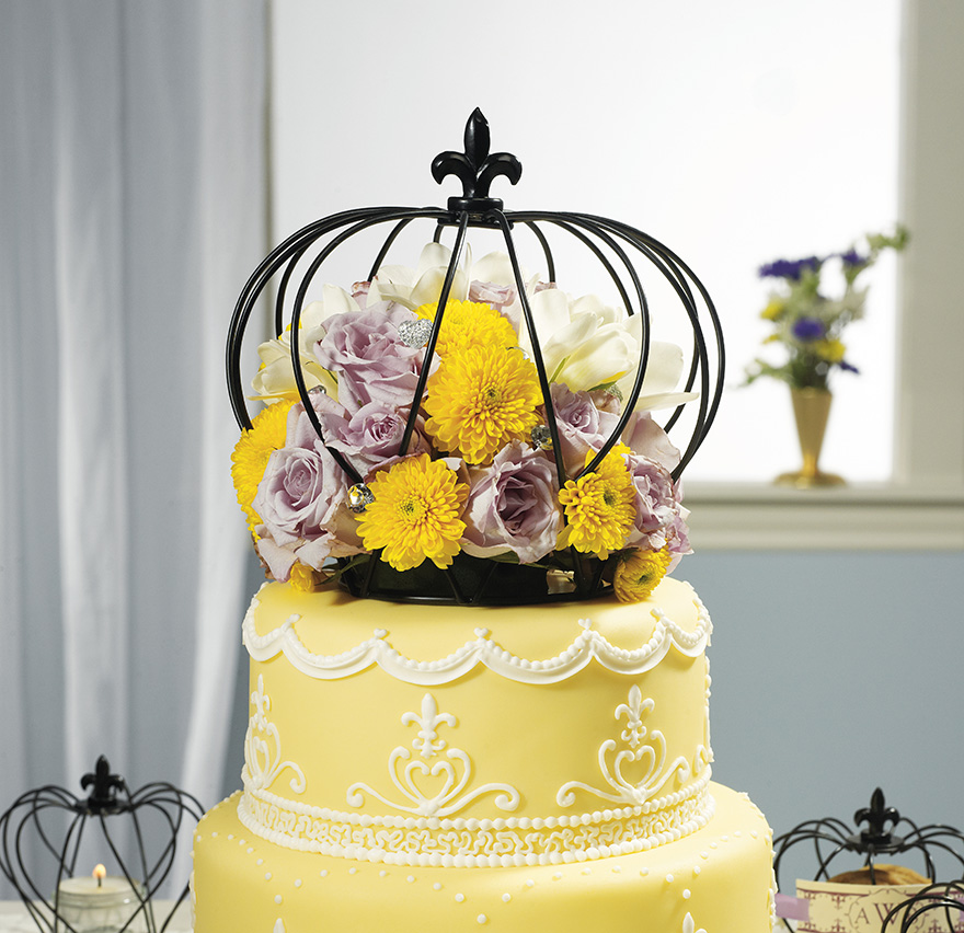 Floral Cake Topper - Summer Wedding Cake with Cage Cake Topper - Crown Cake Topper - Yellow Floral Wedding Cake | Confetti.co.uk