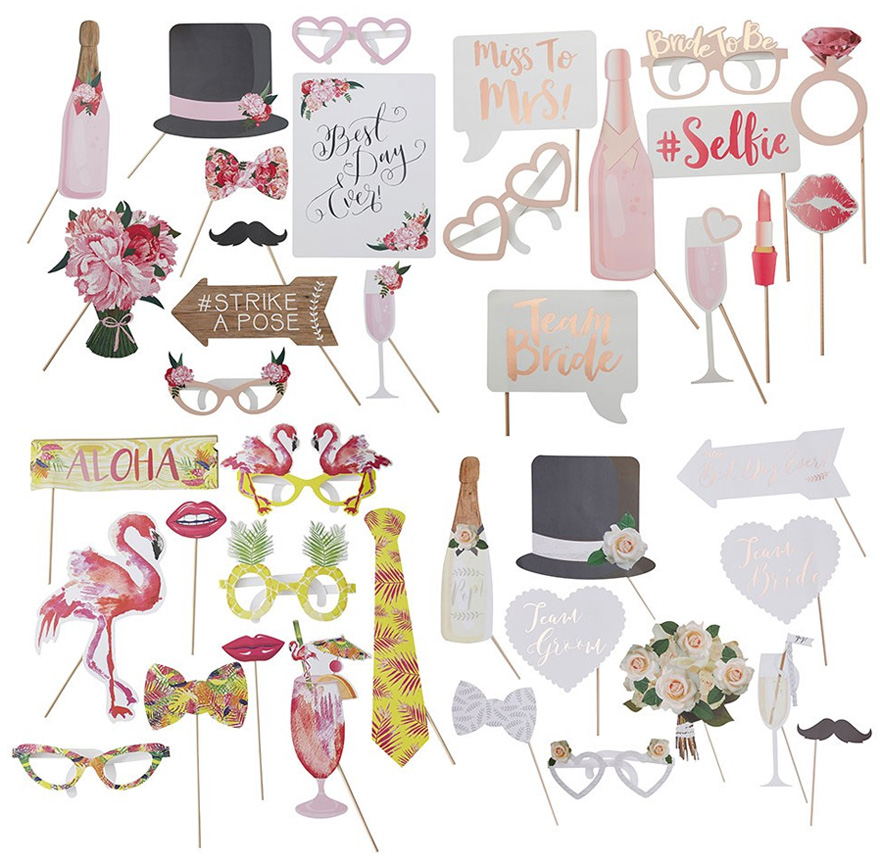 Floral Pink Wedding Photo Booth Props - Hen Party Props Assortment - Flamingo Fun Party Booth Props | Confetti.co.uk