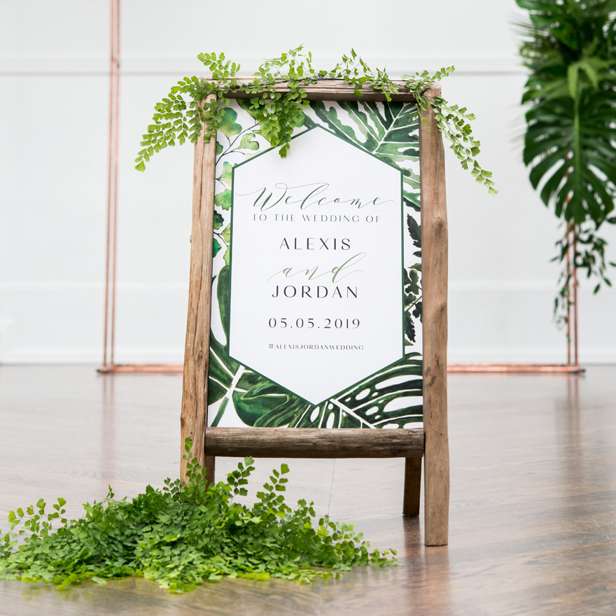 Best Wedding Signs - Greenery Personalised Welcome Sign For Rustic Wood Frame with Self Standing Chalkboard Sign With Rustic Wood Frame - Green and Rose Gold Wedding Ideas - Stylish Wedding Themes | Confetti.co.uk