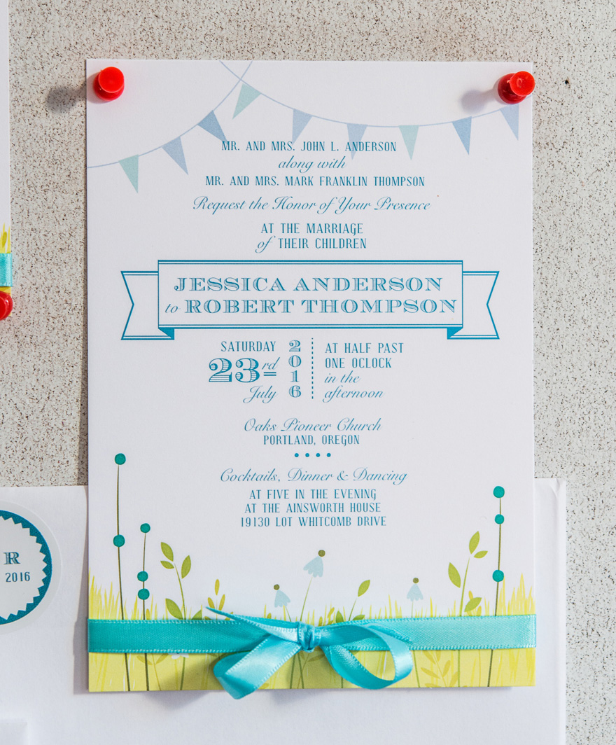 Homespun Charm Invitation - Festive Wedding Stationery - Colourful Rustic Wedding Stationery - Vintage Garden Party Wedding Invitations - Something Blue Wedding Invitation | Confetti.co.uk