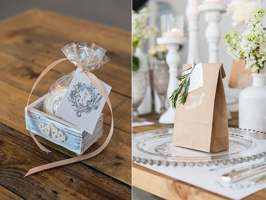 Jewel Footed Favour Box and Antique Chic Card - Beautiful Favour Box Ideas - Rustic Glam Paper Bag Wedding Favour Ideas | Confetti.co.uk