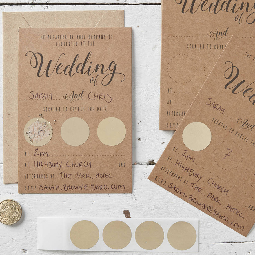 Kraft Wedding Invitations - Ginger Ray Wedding Stationery - Scratch Card Wedding Invitations | Confetti.co.uk