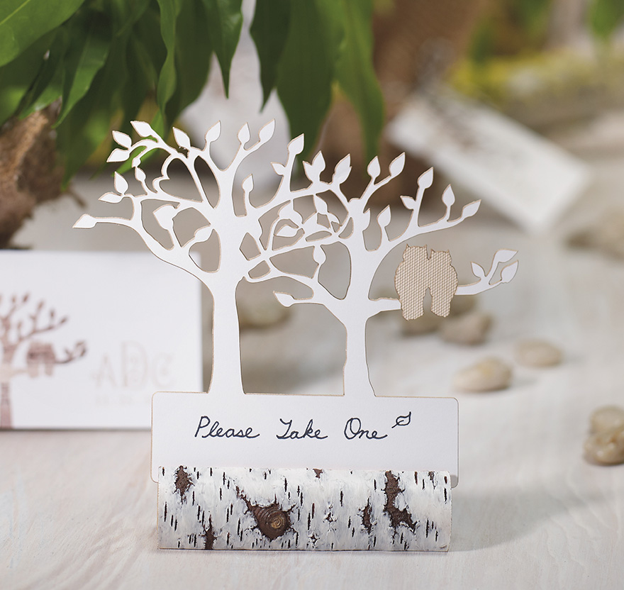 Laser Cut Tree Place Card in Silver Birch Tree Effect Card Holder - Tree Silhouette with Owls Wedding Stationery | Confetti.co.uk