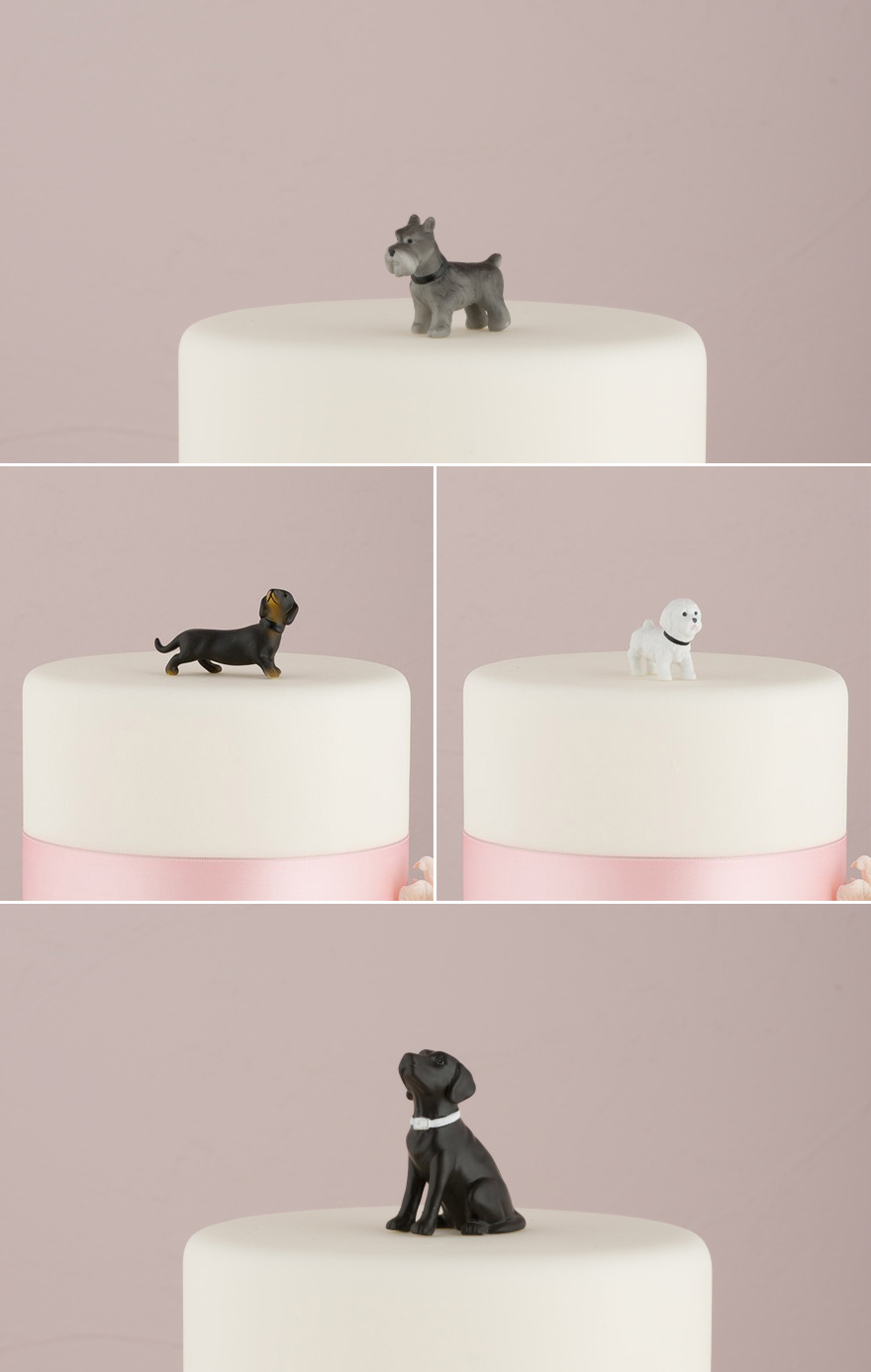 Pet Cake Toppers - Dog Cake Toppers - Miniature Terrier Dog Figurine, Labrador Figurine, Black and Tan Dachshund Figurine, and Bichon Frise Figurines | Confetti.co.uk