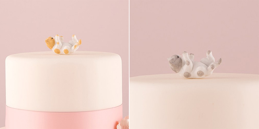 Pet Cake Toppers - Playing Cute Cat Cake Toppers - Miniature Ginger Cat Figurine and Grey Cat Figurine | Confetti.co.uk