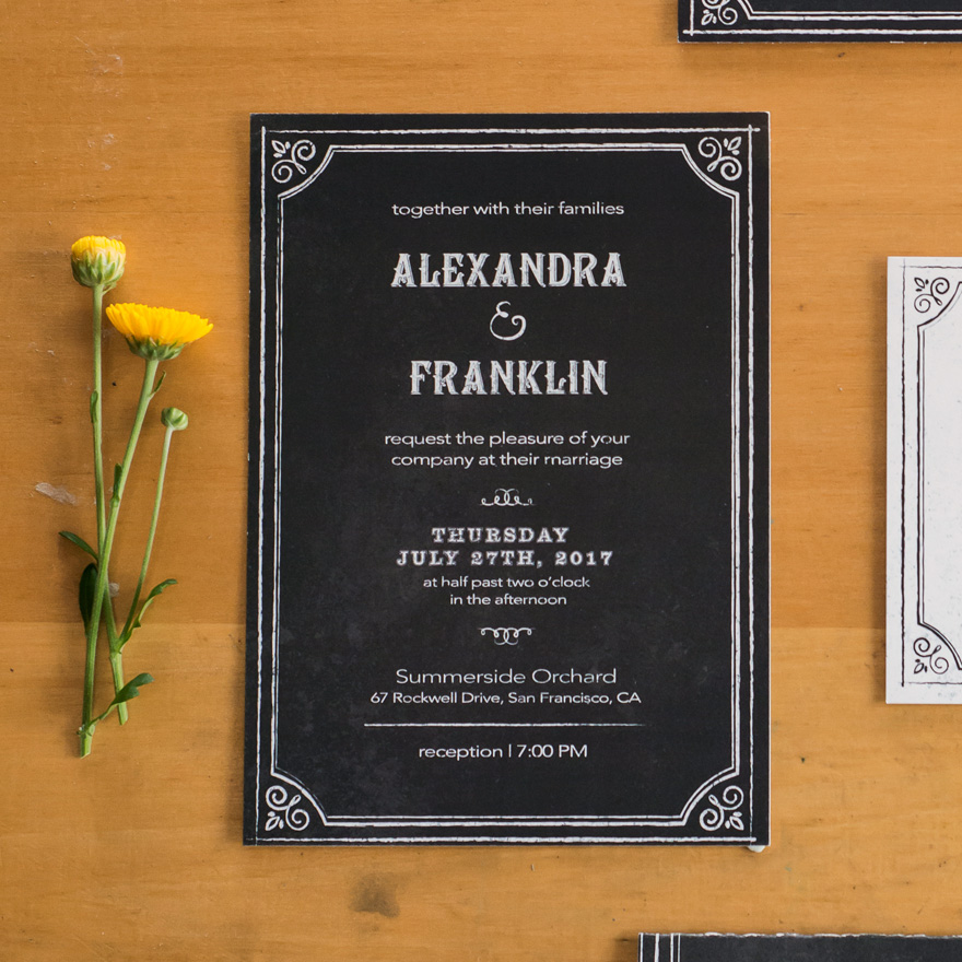 Rustic Chalkboard Wedding Invitation - Ornate Chalkboard Style Vintage Wedding Stationery - Invitation with Chalkboard Print Design | Confetti.co.uk