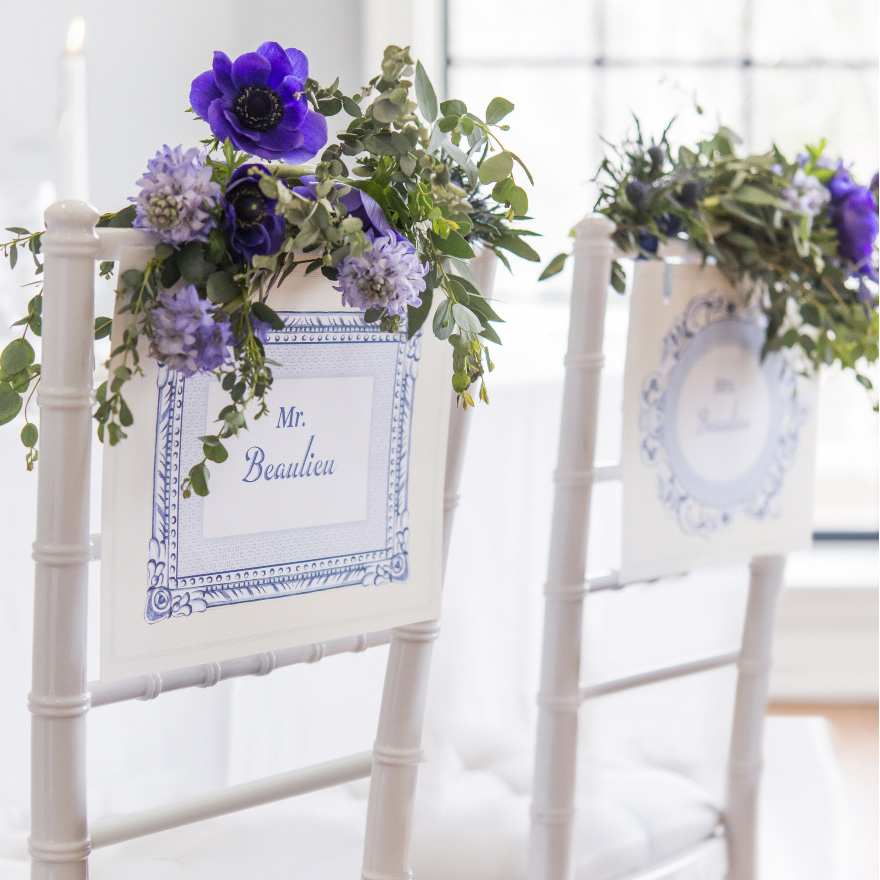 Vintage Romance Chair Signs - Vintage Blue Chair Back Ideas - Wedding Reception Seating Ideas - Vintage Blue Wedding Decor | Confetti.co.uk