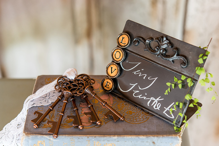 Vintage Style Chalkboard - Ornate Decorative Chalkboard with Vintage Keys and LOVE Magets - Books Wedding Decor | Confetti.co.uk