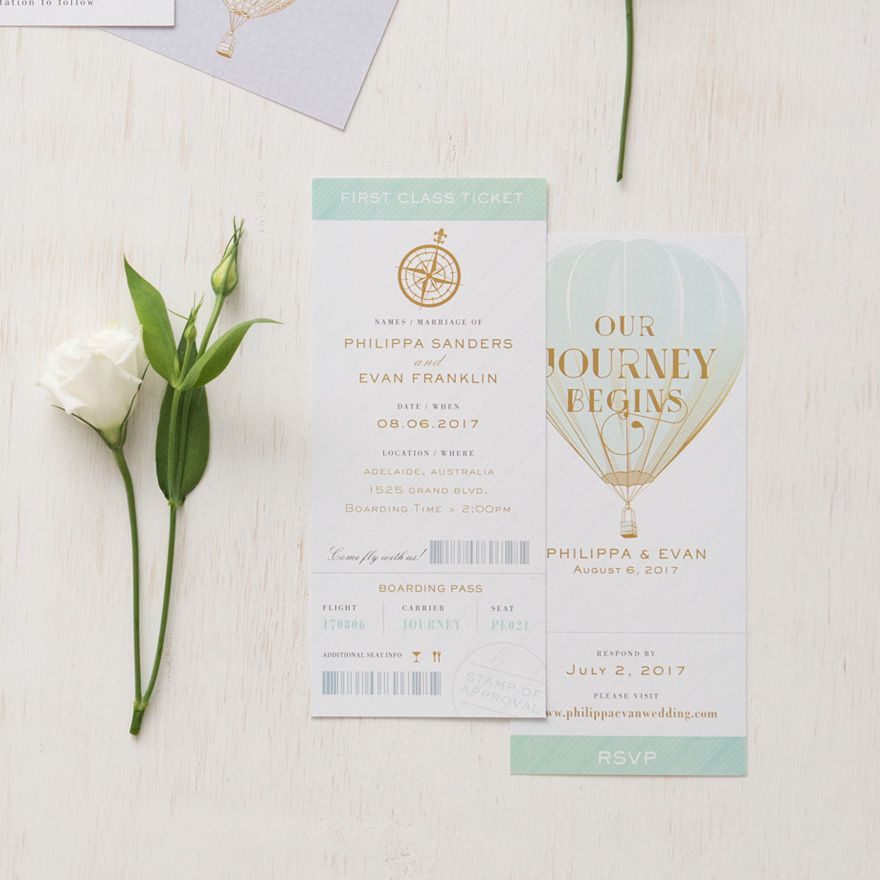 Wanderlust Wedding Stationery - Our Journey Begins Vintage Hot Air Balloon Wedding Invitation in Daiquiri Green - Vintage Travel Boarding Pass Style Invitation With RSVP - Golden Compass Wedding Stationery | Confetti.co.uk
